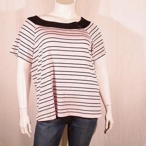 3/$20 Venezia Pink stripe Top size 22/24
